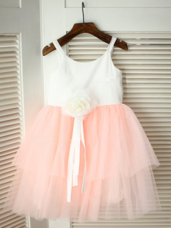 Lovely A-line/Princess Spaghetti Straps Ankle-Length Tulle Flower Girl Dress