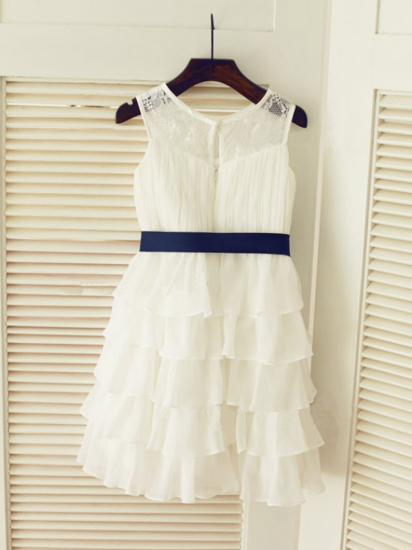 Tea-Length A-Line/Princess Scoop Sleeveless Ruched Chiffon Dresses