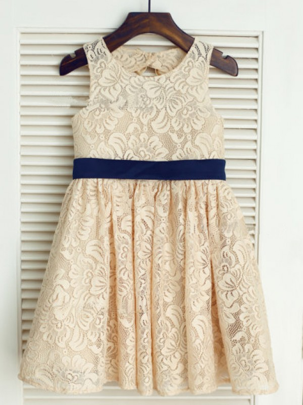 Tea-Length A-Line/Princess Scoop Sleeveless Bowknot Lace Dresses
