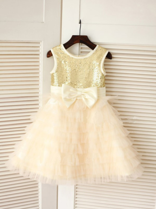 Tea-Length A-Line/Princess Scoop Sleeveless Bowknot Tulle Dresses