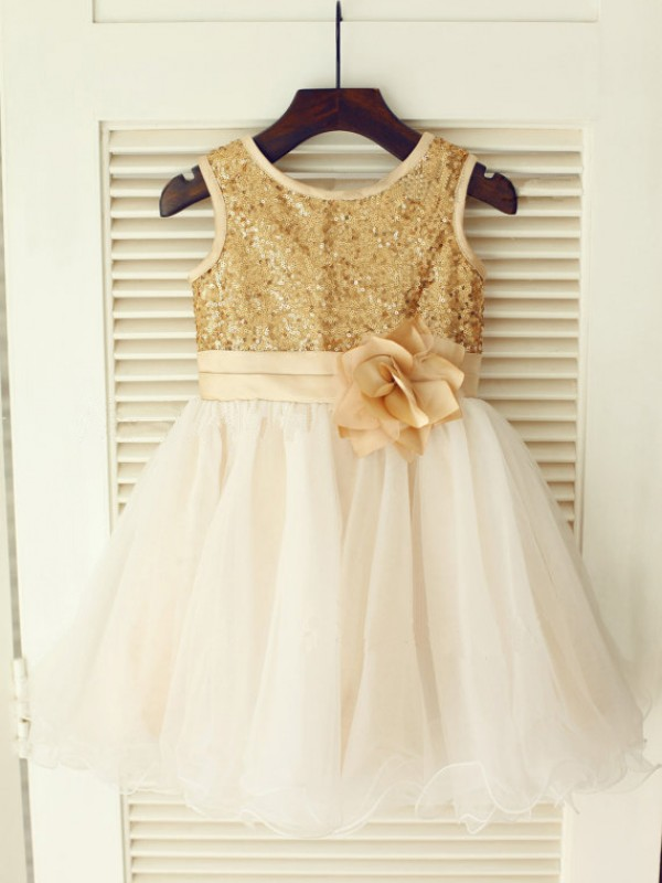 Knee-Length A-Line/Princess Scoop Sleeveless Sequin Organza Dresses