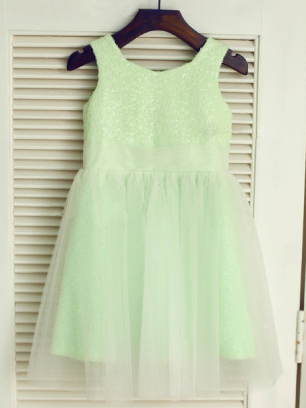 Tea-Length A-Line/Princess Scoop Sleeveless Other Tulle Dresses