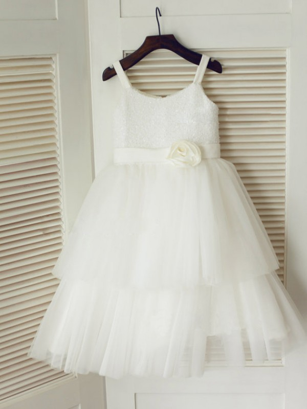 Tea-Length A-Line/Princess Spaghetti Straps Sleeveless Hand-Made Flower Tulle Dresses