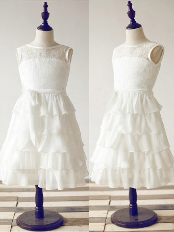 Tea-Length A-Line/Princess Scoop Sleeveless Lace Chiffon Dresses