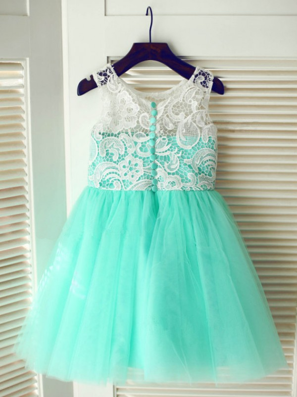 Tea-Length A-Line/Princess Scoop Sleeveless Lace Tulle Dresses