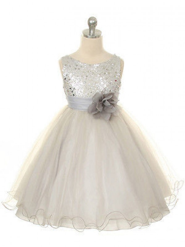 Tea-Length Ball Gown Jewel Sleeveless Hand-Made Flower Organza Dresses