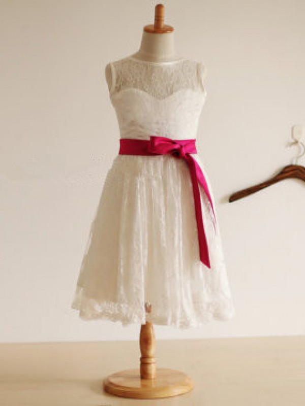 Tea-Length A-Line/Princess Jewel Sleeveless Sash/Ribbon/Belt Lace Dresses