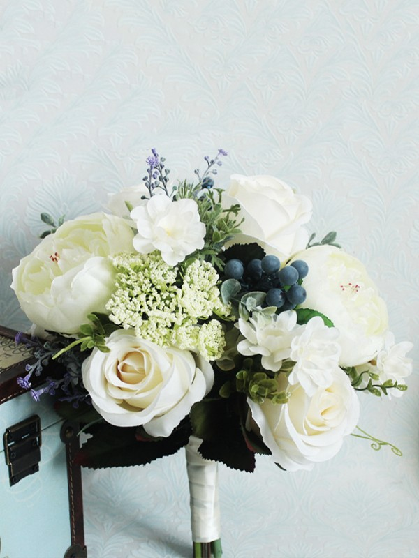 Fascinating Free-Form Silk Flower Bridal Bouquets